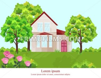 Architecture facade house Vector. Nature beautiful green yard background - frimufilms.com