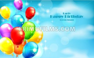 Balloons party invitation card Vector. celebrate events banner poster - frimufilms.com