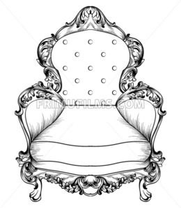 Baroque armchair with luxurious ornaments. Vector French Luxury rich intricate structure. Victorian Royal Style decor - frimufilms.com