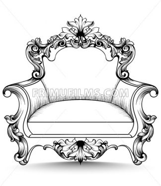 Baroque armchair with luxurious ornaments. Vector French rich intricate structure. Victorian Royal Style decor - frimufilms.com