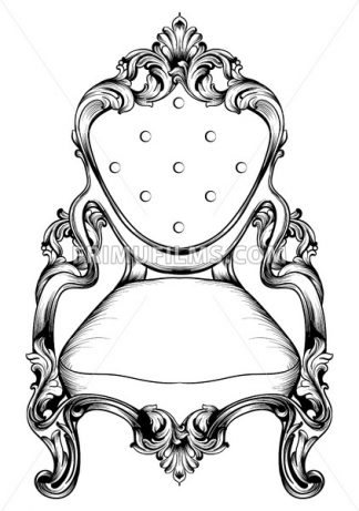 Baroque chair with luxurious ornaments. Vector French Luxury rich intricate structure. Victorian Royal Style decor - frimufilms.com