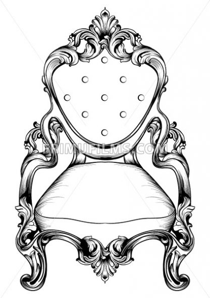 Baroque Chair With Luxurious Ornaments Vector French Luxury Rich