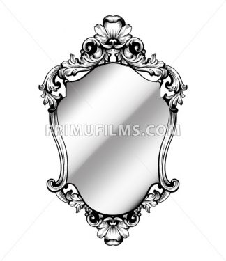 Baroque frame decor Vector. Victorian detailed rich ornament illustration. Royal luxury intricate ornaments. graphic line art style - frimufilms.com