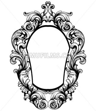 Baroque mirror frame. Vector Imperial decor design elements. Rich encarved ornaments line art - frimufilms.com