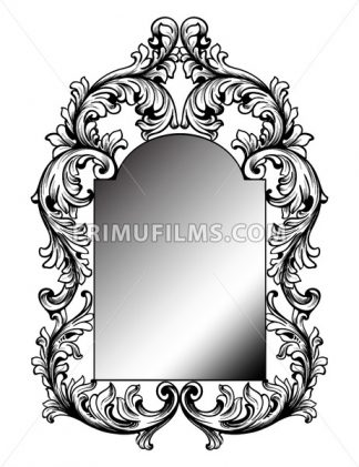 Baroque mirror frame. Vector round decor design elements. Rich encarved ornaments line art - frimufilms.com