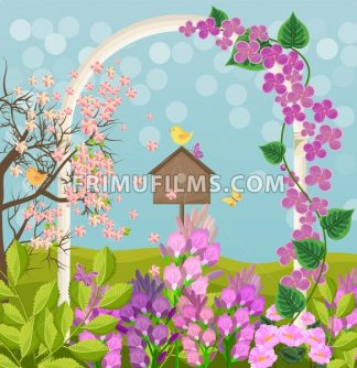 Beautiful spring card with bird house Vector illustration - frimufilms.com
