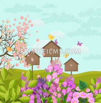 Beautiful spring card with bird houses Vector illustration - frimufilms.com