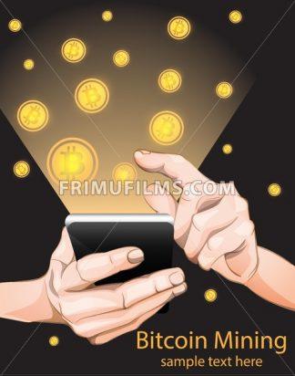 Bitcoin Mining from smart phone. Vector illustration - frimufilms.com