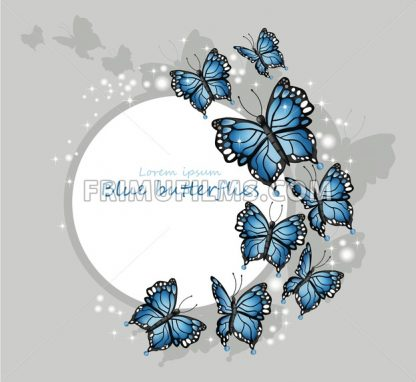 Blue butterflies card Vector illustration. Round frame place for text - frimufilms.com