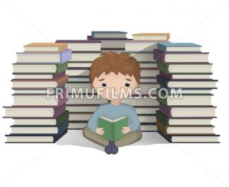 Boy reading a bunch of books Vector. knowledge symbol - frimufilms.com