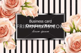 Business card Vector delicate roses floral background. Abstract elements decor. 3d realistic floral design - frimufilms.com