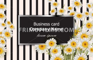 Business card with chamomile flowers Vector. Realistic floral decor background - frimufilms.com