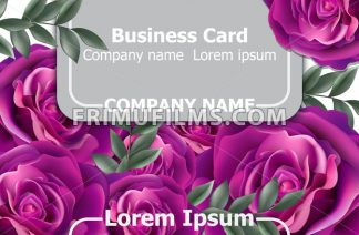Business card with roses flowers Vector. Realistic floral decor background - frimufilms.com