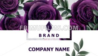 Business card with roses flowers Vector. Realistic floral decor backgrounds. Ultra violet color - frimufilms.com