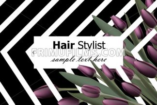 Business card with tulip flowers Vector. Realistic floral decor background - frimufilms.com