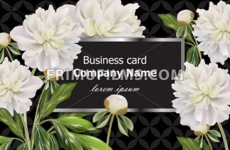 Business card with white peony flowers. Vector realistic floral decor, 3d illustration - frimufilms.com