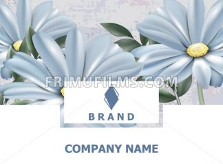 Business card. Brand book. Vintage spring flowers background Vector. Blue daisies floral pattern. Retro style decor - frimufilms.com