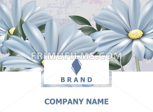 Business Card Brand Book Vintage Spring Flowers Background Vector