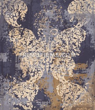 Butterfly decor fabric element background. Vector ornament grunge vintage texture - frimufilms.com