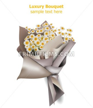 Chamomile flowers bouquet Vector. Spring background. Realistic 3d illustration - frimufilms.com