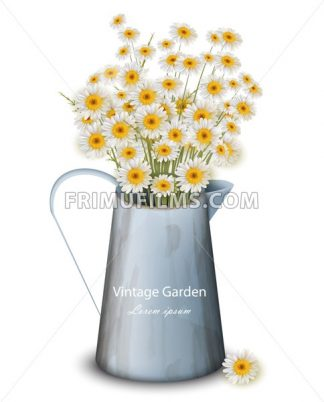 Chamomile flowers in a pot vase Vector. Spring background. Realistic 3d illustration - frimufilms.com