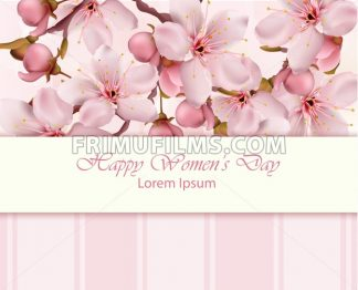Cherry flowers branch Happy Women day card Vector illustration - frimufilms.com