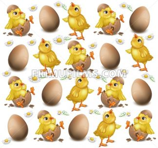 Chicken pattern cracked eggs Vector illustration. Easter background - frimufilms.com