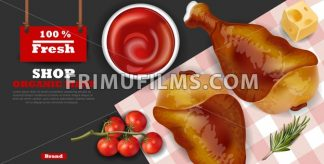 Chicken wings Vector realistic. Fresh organic meat 3d illustration layout banner - frimufilms.com