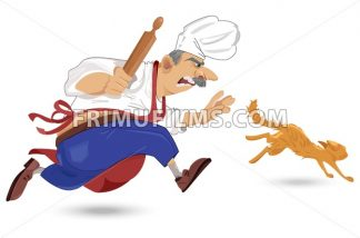Chief cook chasing a cat Vector. Cartoon character. Outdoors restaurant background - frimufilms.com