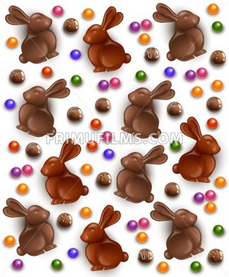 Chocolate bunny and eggs pattern background. Vector 3d realistic illustration - frimufilms.com