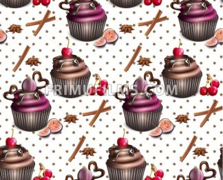 Chocolate cupcakes pattern Vector. Retro vintage background - frimufilms.com