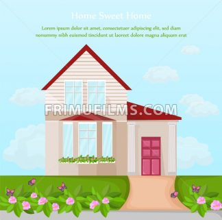 Classic House architecture facade Vector. beautiful decor illustration - frimufilms.com