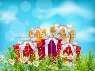 Colorful Gift boxes on blue sky background. Vector realistic 3d illustration - frimufilms.com