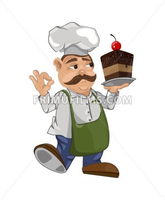 Cook chief with a cake slice Vector. Master chief cartoon character illustration - frimufilms.com