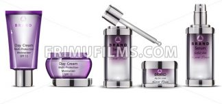 Cosmetics realistic Vector packaging. Day cream, serum collection products mock up - frimufilms.com