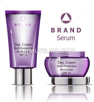 Cosmetics set realistic Vector packaging. Day cream, serum products mock up - frimufilms.com