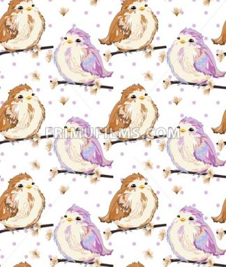 Cute Little sparrows pattern Vector. Vintage retro spring background - frimufilms.com