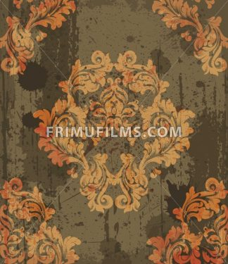 Damask pattern ornament decor Vector. Baroque grunge fabric texture illustration design - frimufilms.com