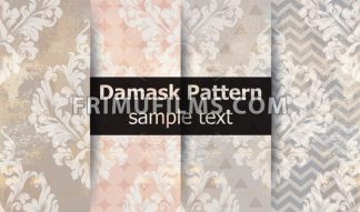 Damask pattern set collection Vector. Baroque ornament on modern abstract background. Vintage decor. Trendy color fabric texture - frimufilms.com