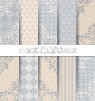 Damask patterns set collection Vector. Baroque ornament delicate mix. Vintage decor. Trendy color fabric texture - frimufilms.com