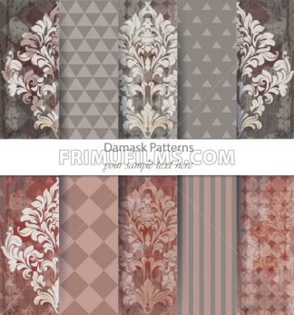 Damask patterns set collection Vector. Baroque ornament with modern abstract elements. Vintage decor. Trendy color fabric texture - frimufilms.com