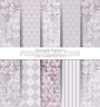 Damask patterns set collection Vector. Classic ornament various colors with abstract background textures. Vintage decor. Trendy color fabric - frimufilms.com