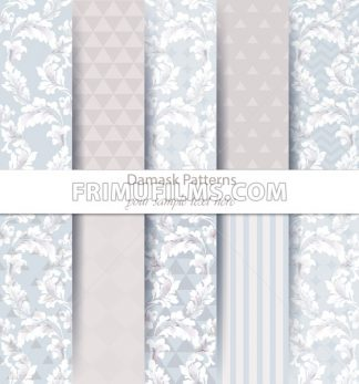 Damask patterns set collection Vector. Classic ornament various colors with abstract background textures. Vintage decor. Trendy color fabric texture - frimufilms.com