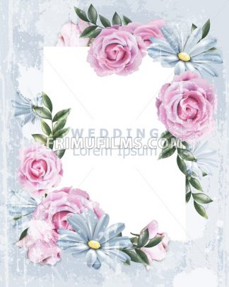 Delicate Vintage frame with rose flowers Vector. Wedding Invitation floral decor. Old Grunge effect. 3d illustration - frimufilms.com