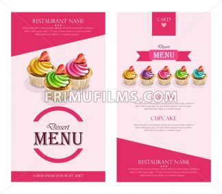 Dessert Menu Cupcakes Vector realistic. banner frame layout template 3d illustration - frimufilms.com