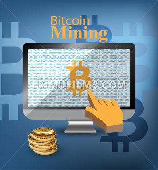 Digital Vector bitcoin mining monitor screen Vector illustration - frimufilms.com