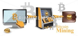 Digital vector bitcoin cryptocurrency realistic money transfers financial concept. Cash machine, wallet, computer - frimufilms.com