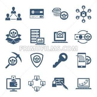 Digital vector line icons set blockchain pack illustration with elements for cryptocurrency - frimufilms.com