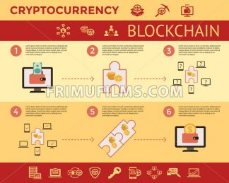 Digital vector line icons set blockchain pack illustration with elements for cryptocurrency mining infographics - frimufilms.com