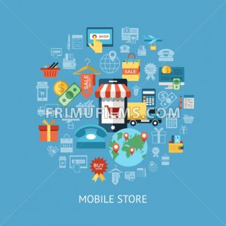 Digital vector line icons set mobile shopping and store illustration with elements for online electronic commerce infographics - frimufilms.com